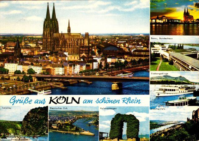 Grüße aus Köln am schönen Rhein , Ansichtskarte,  gelaufen