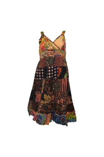 100/% COTTON BOHO HIPPIE VINTAGE STYLE V-NECK LAGENLOOK FLORAL SHORT DRESS