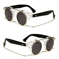 Cool Flip Up Lens Steampunk Vintage Retro Round Sunglasses Clear n