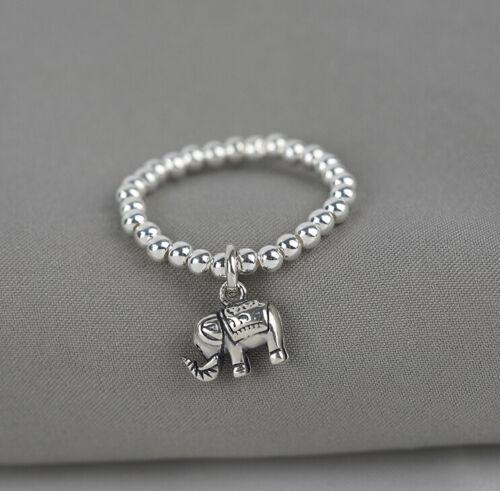 I05 Ring Sterling Silber 925 Kugelkette mit kleinem Anhänger Elefant