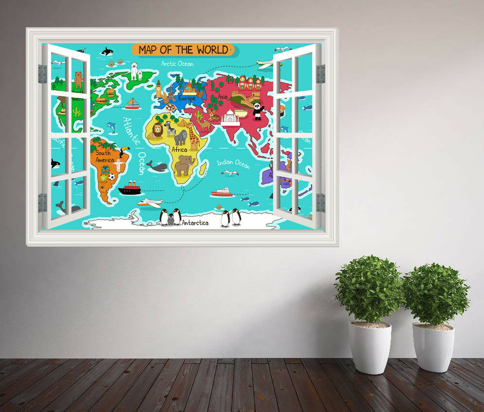 Kinder Farbe WeltkKunste Lern Fenster Wandaufkleber (37436572ww)