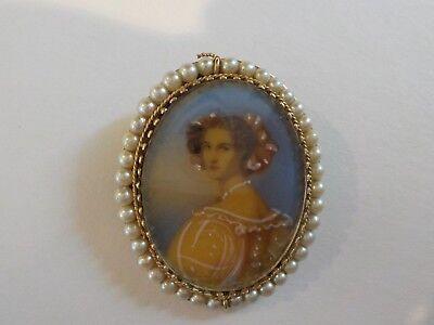 Ehrlich Viktorianisch Zeitraum 14 K Gold Brosche/anhänger, Handbemalt Porträt Wir Nehmen Kunden Als Unsere GöTter