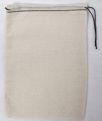 4x6 Bags Natural Muslin RED HEM Orange Drawstring 100