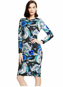 M-amp-S-Marks-and-Spencer-Autograph-Floral-Paisley-Print-Bodycon-Dress-Size-6-20