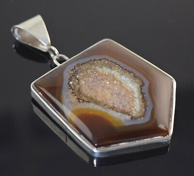 "Pink Druzy Gemstone Pendant 925 Sterling Solid Silver Handmade Jewelry S 1.2/"""