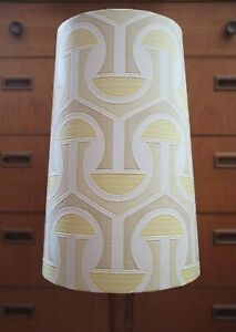 Original-60s-70s-Paper-Lampshade-Extra-Tall-Conical-White-Yellow-Geometric