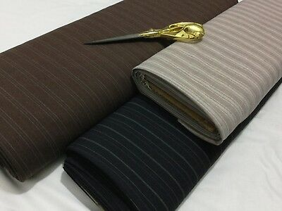 *NEW*Pin Stripe Brown Polyester Bi-Stretch Suit//Trouser//Skirt Fabric*FREE P/&P*