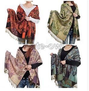 Nouveau-Mode-Femme-Floral-100-Cachemire-Pashmina-Doux-Chaud-Wrap-Chale-Echarpe