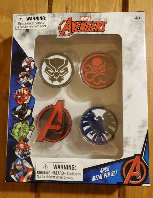 Marvel Avengers 4 Piece Metal Pin Set Black Panther Hydra Shield NEW