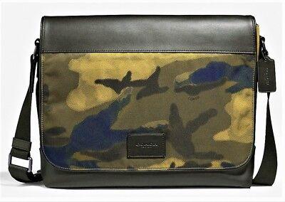 Coach Men/'s Black Nylon /& Leather Messenger Laptop Bag F38741 NWT $398