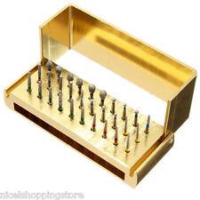 30 Pcs Dental Diamond Burs Drill Disinfection Bur Block High Speed Handpiece
