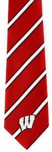 Wisconsin Badgers Mens Necktie NCAA College University Striped Neck Tie New