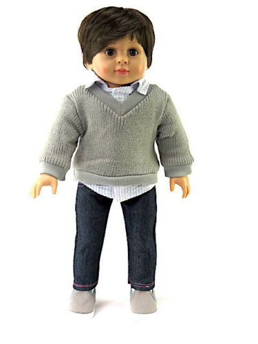"Sweater And Jean 3 Pc Pant Set Fits 18/"" American Boy or Girl Doll Clothes"