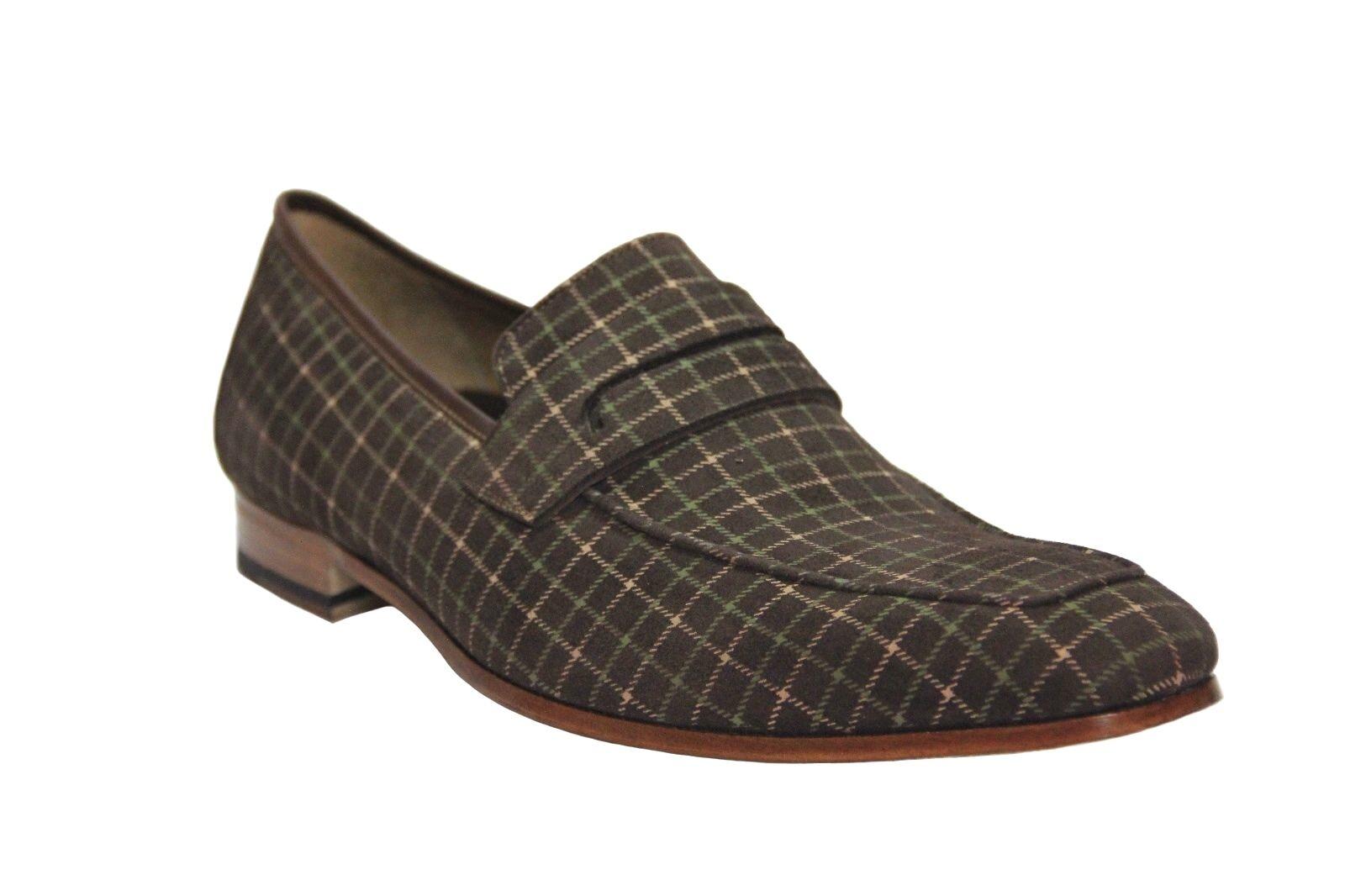 Mezlan Galen Men's Suede Marronee Plaid Slip On Dress scarpe Made in Spain 6686