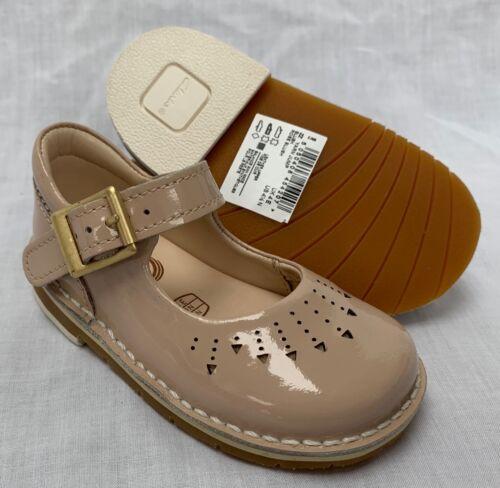 BNIB Clarks Girls Yarn Jump Blush Patent Leather Air Spring First Shoes E//F//G