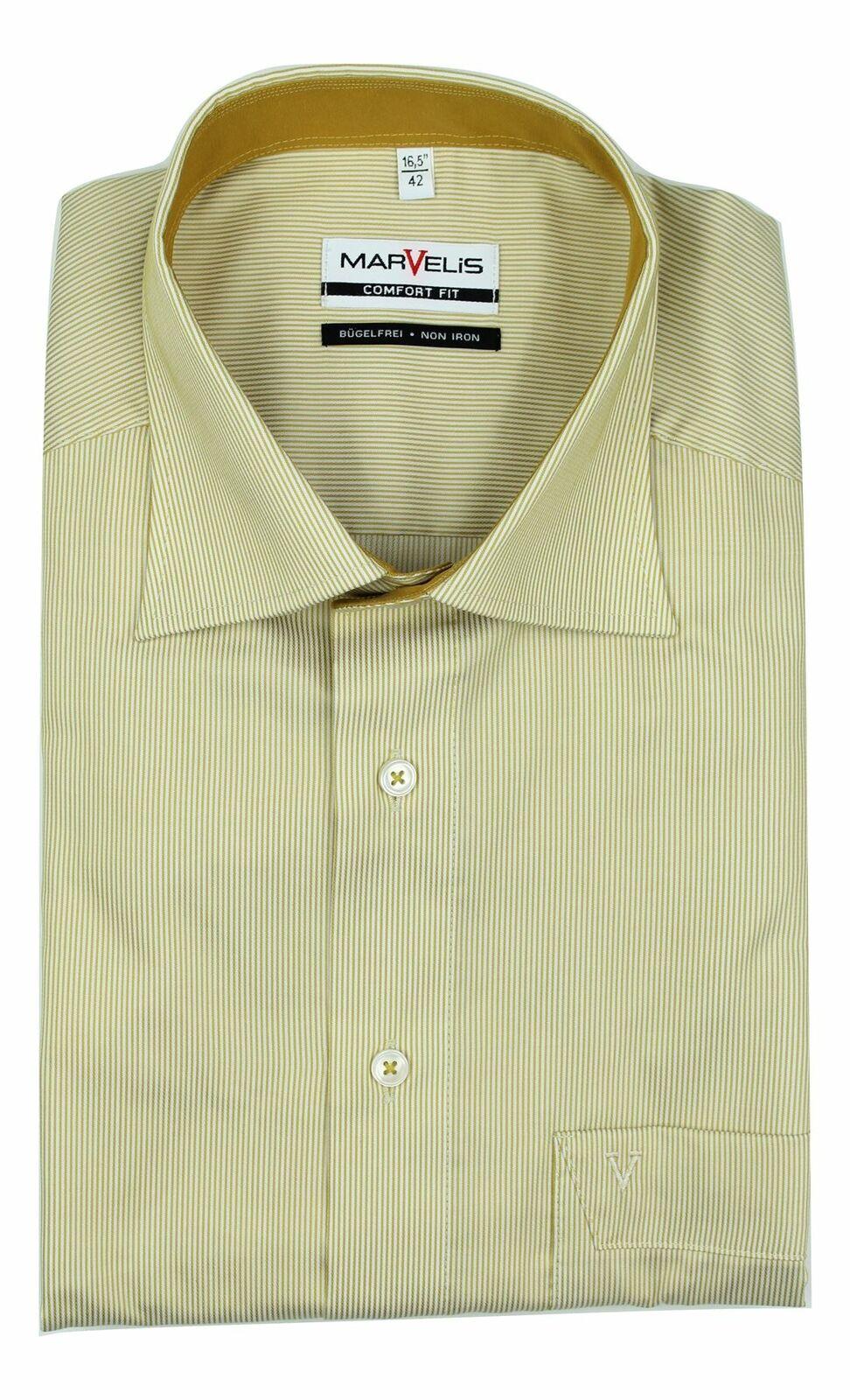 Mustard Pinstripe Spread Collar