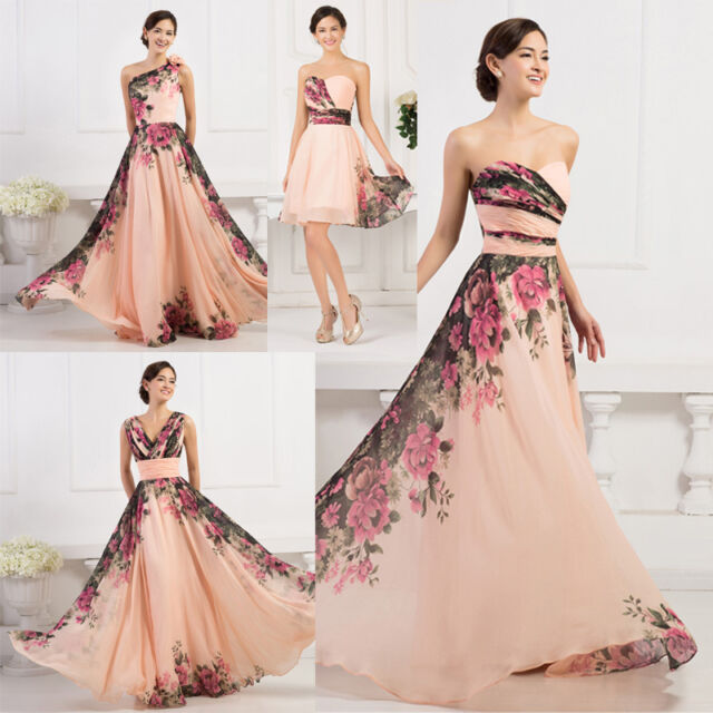 Long / Short Sexy Vintage 50s Style Flower Party Prom Cocktail Evening Dress New