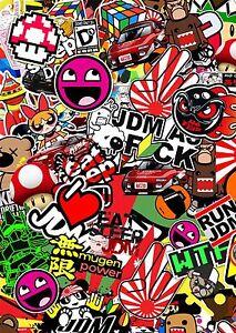 3-x-A4-JDM-Sticker-Bomb-sheet-Euro-Vinyl-Decal-vw-honda-Dub-Japan-Drift