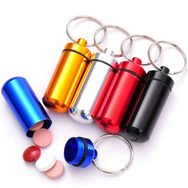 New 5 Pcs Black Waterproof Aluminum Pill Box Case Drug Holder Keychain Container