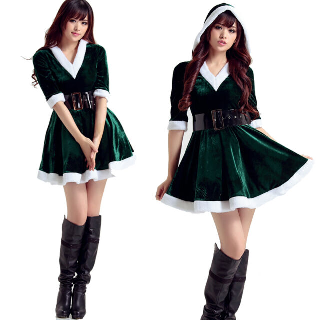 Women Santa Costume Adult Miss Mrs Claus Outfit Christmas Fancy