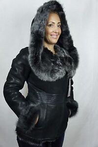Black-100-Sheepskin-Shearling-Leather-Lambskin-Toscana-Hood-Coat-Jacket-XS-5XL