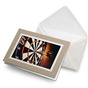 Greetings-Card-Biege-Dart-Board-Darts-Bullseye-2415