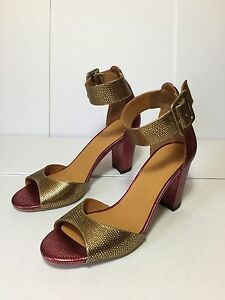 POSH-AGAIN-amp-AGAIN-Metallic-Maroon-Gold-Leather-Buckle-Strap-Sandal-Heels-US7