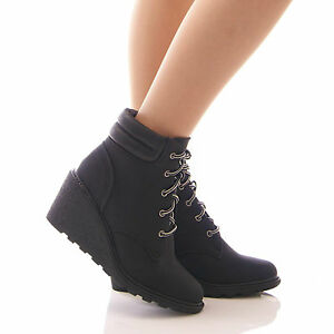 womens black ankle boots low wedge fur winter lace