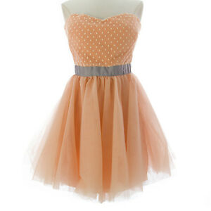 TOPSHOP-Women-039-s-Peach-Above-Knee-Tulle-Ball-Gown-Dress-35P15Y-US-Size-8-NEW