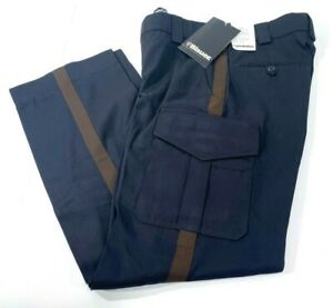 MENS-BLAUER-8980-SIDE-POCKET-RAYON-POLYESTER-PANTS-NAVY-WITH-BROWN-STRIPE-31x32