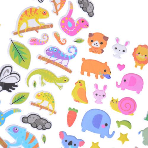 6 Sheets Cartoon Animal Scrapbooking Bubble Puffy Stickers Reward Kids Toys Nt