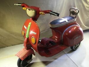 Details About Vintage National Red Vespa Type Scooter Pedal Car