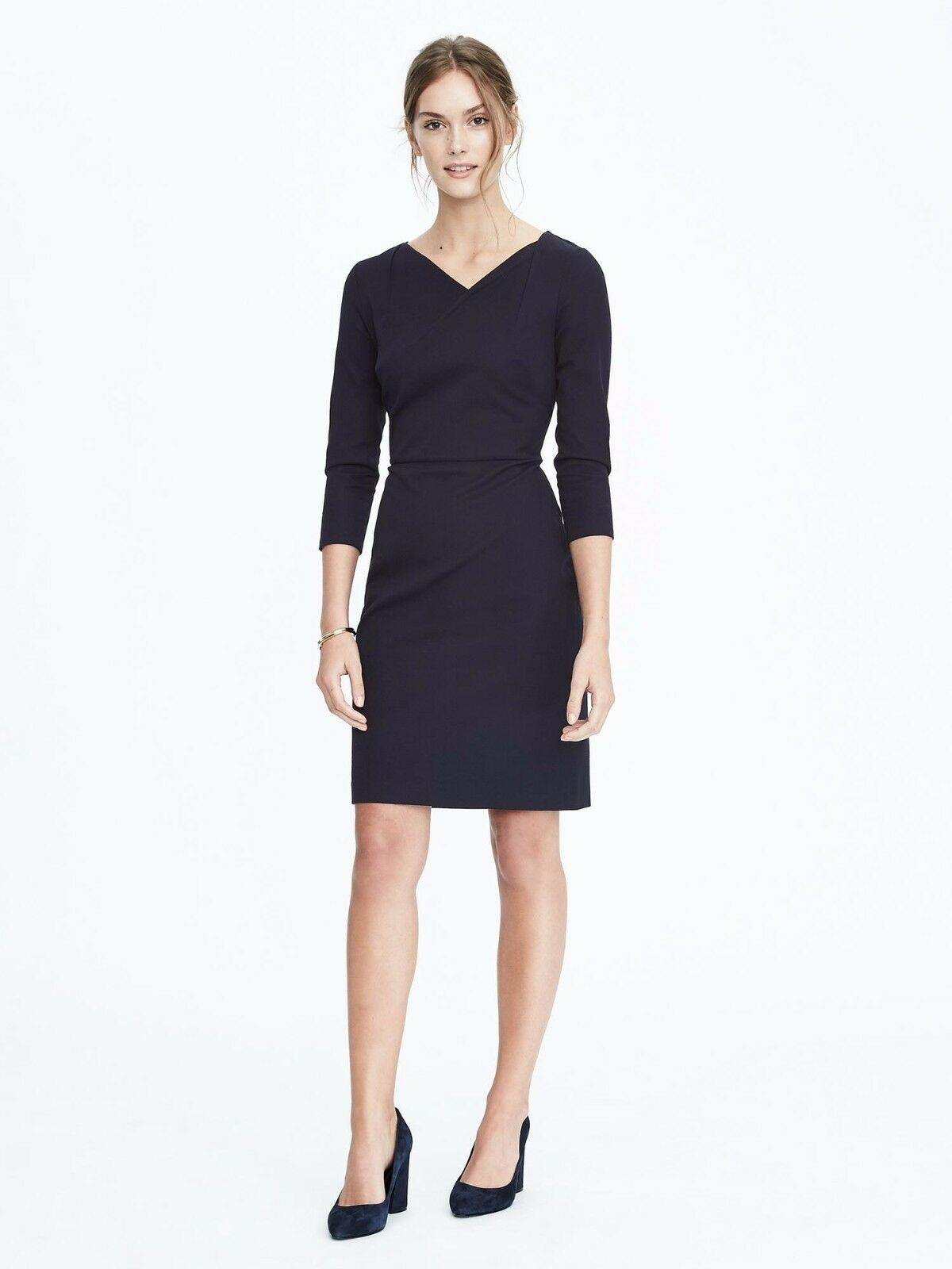 Banana Republic Asymmetric Neckline Sheath Dress, Navy Größe 8       v58