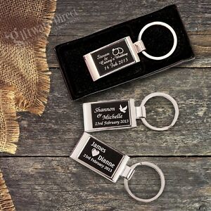 Image Is Loading Personalised Engraved Gift Box Solid Keyring Wedding Favour