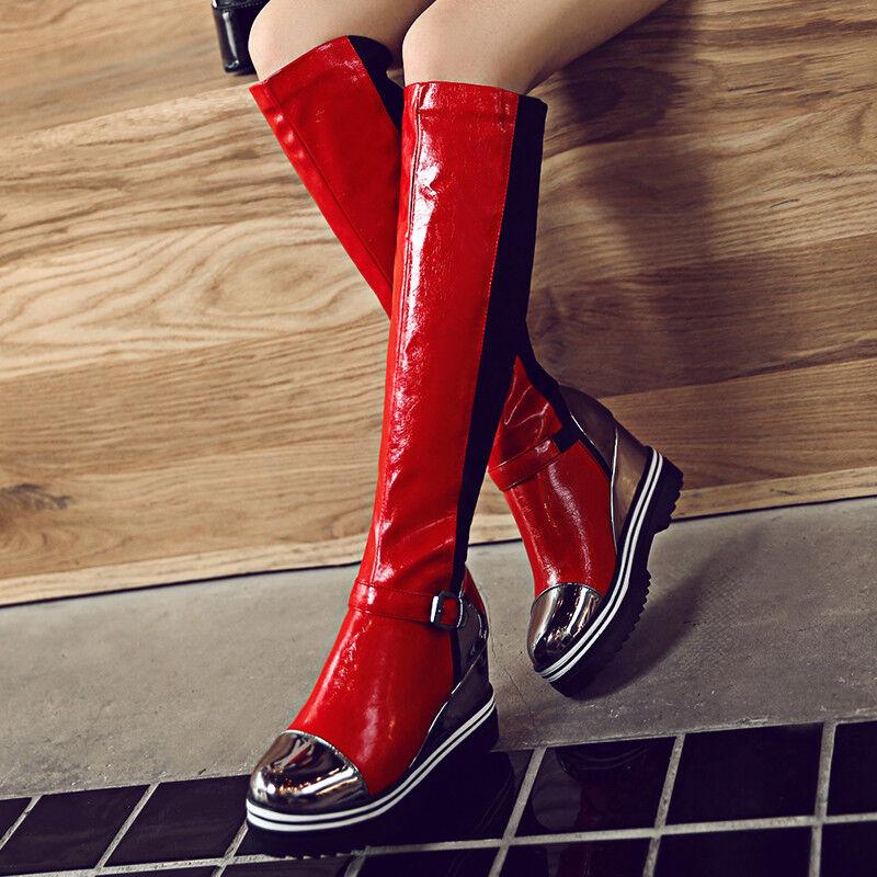 Punk Damen Schuhe Stiefel Plateau Wedge Synthetik 3 Farbes Winterschuhe Gr:34-43