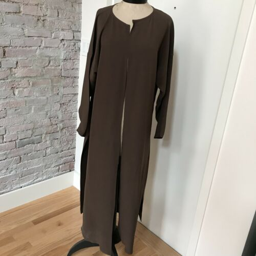Zoran Brown Silk Coat Duster Long Sleeve Italy 100% Silk Evening Coat 10 by Zoran