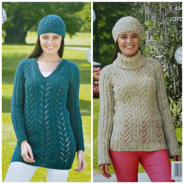 cf85479789c5 King Cole 4349 Knitting Pattern Raglan Sleeve Sweater Tunic   Hat in ...