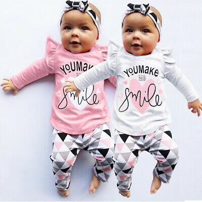 Newborn Toddler Infant Baby Girls Letter Print Tops Geometric Pants Outfits Set