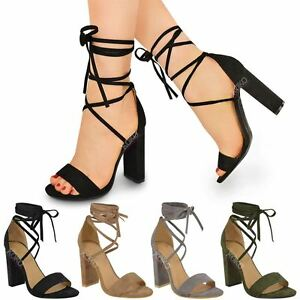 7ab55c75599 Lace Tie Up Ankle Wrap Around Sandals Womens Ladies High Heel Chunky ...