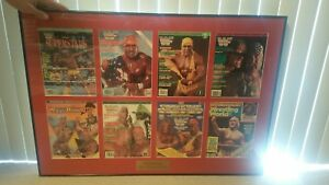HULK-HOGAN-8-MINTED-AUTOGRAPHED-SIGNED-WWE-WWF-Magazine-039-s-IN-FRAMED-CASING-RARE