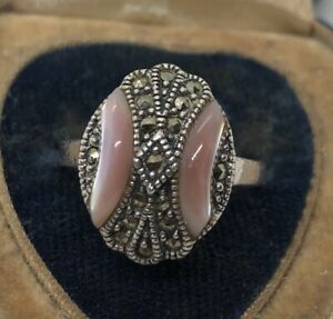 Vintage-Sterling-Silver-Ring-925-Size-8-Marcasite