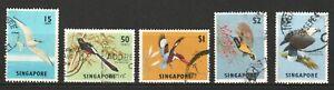 SINGAPORE-1963-BIRDS-DEFINITIVES-SEA-EAGLE-SUNBIRD-KINGFISHER-SET-5-STAMP-USED
