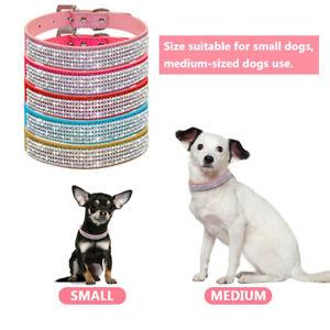 New-Dog-Puppy-Cat-Bling-Diamante-Rhinestone-PU-Collars-Pet-Supplies-Hot-XS-L