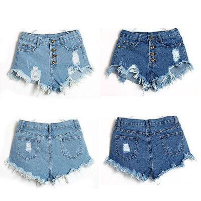 1PC Women Vintage High Waist Jeans Hole Short Jeans Denim Shorts GFY