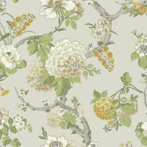 Wallpaper-Traditional-Jacobean-Floral-Vine-Green-Tan-White-Yellows-on-Pearl