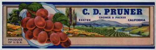 PRUNER Vintage Exeter California Grape Crate Label D **AN ORIGINAL LABEL** C