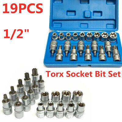 """Torx Socket Bit Set  1//2/"""" E Type Chrome Vanadium Bright Chrome Tools  x 19"""