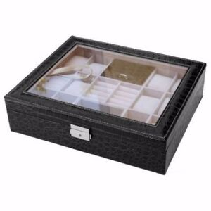 Image Is Loading 12 Slot Black Croc Leather Watch Box Jewelry