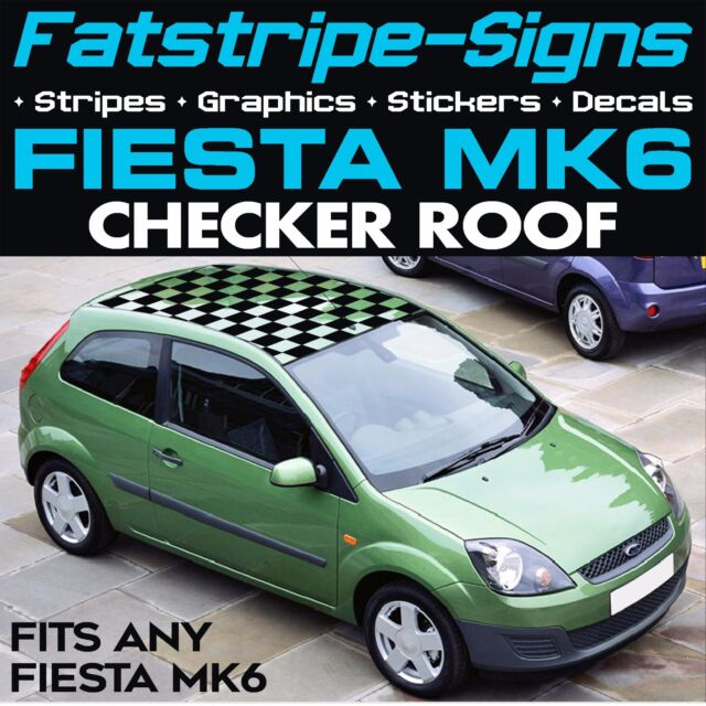 Ford fiesta mk6 graphics checker roof car stripes decals stickers st zetec 1 6