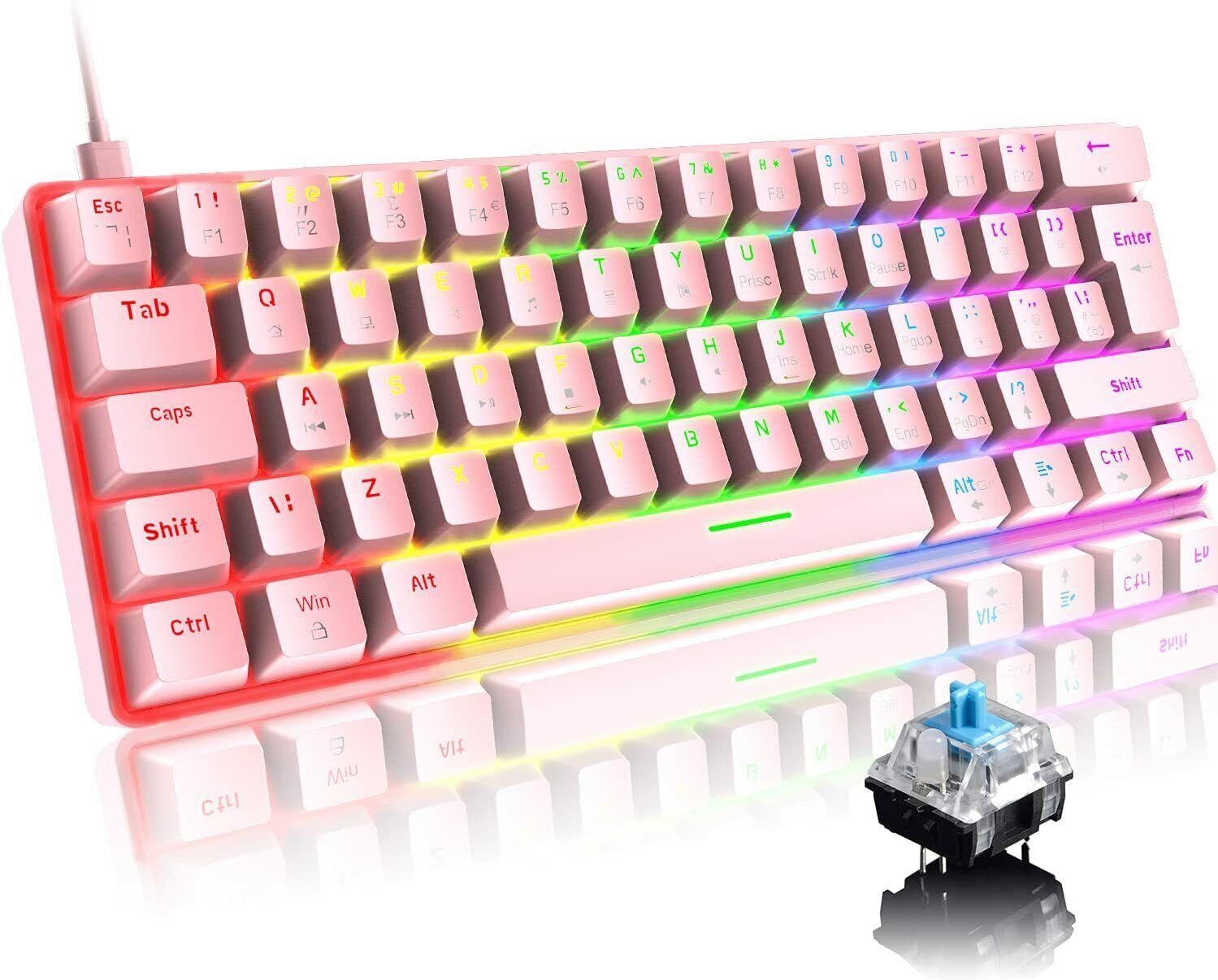 UK Layout Wired 60% True Mechanical Gaming Keyboard RGB Chroma LED Backlit USB-C